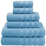 American Soft Linen Badetuch-Set, 6-teilig, Babyblau