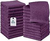 DAN RIVER Waschlappen aus 100 % Baumwolle, 400 g/m², 24 Stück, lila Passion – Waschlappen für Gesicht weich – Waschlappen aus Baumwolle – Waschlappen für Badezimmer – Waschlappen 30,5 x 30,5 cm
