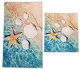 Dora 2- teilig Badgarnitur rechteckig 60x100cm und 50x 60cm, Badset Vintage für Hänge-WC Badematten Badteppich (türkis beige Muscheln Seestern)