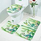 LAOSHIZI Neu rutschfest Sanft Badteppich Kieselstein Schön 3er-Pack Badteppiche Set U-Form konturiert WC-Matte Teppiche Deckelabdeckung Kaktus