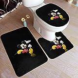 LuoYangShiLaoChengQuTianYuGangCaiXiaoShouBu 3er-Pack Badematten-Set M-i-c-k-ey und Minnie Mouse rutschfestes Badteppich-Set, U-förmige Konturmatte und Deckelabdeckung