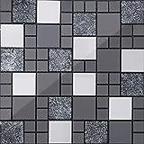 Mosaikwandfliese. Gebürstete Edelstahl und Glas Mosaik Fliesen, schwarz und silber. Matte (MT0002)