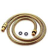 Acefy Duschschlauch Gold, Qualitäts Brauseschlauch Gold Metall Edelstahl 150 cm /1.5 m für Handbrause/Duschbrause Standard Anschluss/Gewinde/goldener