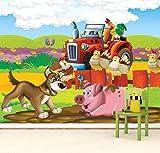 Vlies Tapete Poster Fototapete Kinderzimmer Kleiner roter Traktor Farbe color, Größe 160 x 120 cm