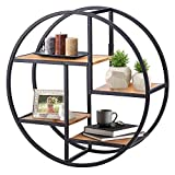 Stilvolles, rundes Eisen-Holzregal mit 4 Ebenen, Regal Holz Klein Vintage kreativ Wandmontage dekoratives Regal für Schlafzimmer, Wohnzimmer und Büro