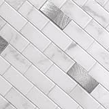 BeNice Selbstklebende Fliesen Küche,Selbstklebend Mosaikfliesen Bad Marmor Fliesenaufkleber Wandfliesen Wasserdicht Hitzebeständig(5 STÜCKE) Carrara Weiß