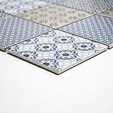 Handmuster Retro Vintage Mosaik Fliese Keramik weiß blau orange grau MOS22B-1404_m