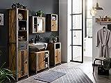 Woodkings® Bad Set Detroit II recycelte Pinie Metall grau, Badezimmerset 5teilig mit Spiegelschrank Badschrank Set Industrie Design, Badmöbel