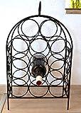 Weinregal - schicker stabiler Weinständer für 9 Flaschen- Metall-Regal schwarz - moderner Flaschenständer -