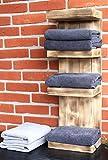 Dekorie Badregal Bad Handtuchhalter Schmal Handtuch Regal Holz braun geflammt geflämmt