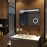 Meykoers Wandspiegel Badezimmerspiegel LED Badspiegel mit Beleuchtung 80x60cm mit Sensor-Schalter und Uhr