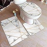 Beauty-Design Marmor Geometrie Badezimmerteppich-Set, 3-teilig, rutschfest, saugfähig, Badezimmerteppich, U-förmiger WC-Vorleger, verlängerter WC-Deckelbezug
