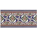 Casa Moro Orientalische Fliesen-Bordüre Layali 28x14 cm rechteckig | Marokkanische Bordüre schöne Wandfliese für Küche Bad Wohnzimmer & Küchenrückwand | FL2009