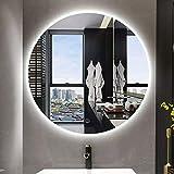 YUANJJ Runder LED Beleuchteter Badezimmer Spiegel Anti-Fog LED Beleuchteter Smart Makeup Kosmetikspiegel, Wandspiegel Mit Hintergrund Beleuchtung Und Touch-Schalter