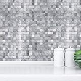 Miscasa Abziehen und Aufkleben Metall-Wandfliesen, Aluminium-Wandfliesen, zum Aufkleben auf Metallfliesen, silberfarben, 5 Fliesen à 30,5 x 30,5 cm