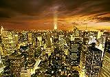 decomonkey Fototapete New York Stadt City 200x140 cm Design Tapete Fototapeten Vlies Tapeten Vliestapete Wandtapete moderne Wand Schlafzimmer Wohnzimmer NY Hochhauser Licht