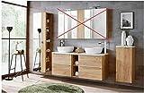 Badmöbel Set Capri-B Eiche Gold 140 cm mit 2 Waschbecken LED Soft - Close (Waschtisch Hochschrank Unterschrank)