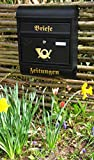 BTV Wandbriefkasten,NEU Briefkasten, groß XXL, Premium-Qualität aus Stahl, lackiert, Hammerschlag-Optik R XXL anthrazit schwarz Gold mit Zeitungsrolle fertig montiert Postkasten Post