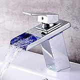 LED Beleuchteter Wasserhahn Wasserfall Glas Waschtischarmatur 3 Farbewechsel Beleuchtung RGB Bad Armatur Einhandmischer Wasserhahn