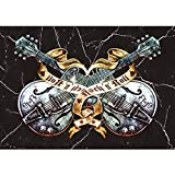 Vlies Fototapete PREMIUM PLUS Wand Foto Tapete Wand Bild Vliestapete - Gitarre Rock `n` Roll Vintage Tattoo - no. 294, Größe:300x210cm Vlies