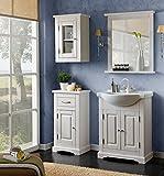 naka24 Badmöbel ROMANTIK 65 mit Waschbecken MASSIVHOLZ Weiss Verschiedene Kombinationen (Waschtisch Spiegel Hängeschrank Unterschrank)