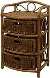 korb.outlet Rattan Kommode mit 3 schubfächern Vintage Rattanregal mit Körben Braun Bad Regal aus Rattan Badregal dunkel
