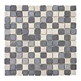 Mendler Steinfliesen Vigo T690, Marmor Naturstein-Fliese Quadrate, 11 Stück je 30x30cm = 1qm - grau-weiß