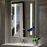 Warmiehomy LED-beleuchteter Badezimmer-Spiegelschrank, (H x B x T): 700 x 500 x 135 mm, mit LED-Licht, Touch-Schalter, Rasiersteckdose, Demister Temperaturanzeige