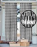 Gingham-Karo Fenstervorhang, Deko, Kinderzimmer, Landhaus-Vorhang, Küchen-Vorhang, Badezimmer-Vorhang, Wohnzimmer-Vorhang, 127 x 160 cm, Schwarz-Weiß, 2er-Set
