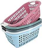 Wäschekorb Wäschewanne Plastik Kunststoff Korb Griffen Rosa