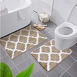Homaxy rutschfest Badematten Set 2 teilig Weich Hochflor Bad WC Teppich Set Mikrofaser Badvorleger Set 2teilig -Beige