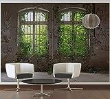 awallo Fototapete «Alte Fenster» in Beige, Braun, Grün, Vliestapete 350x255cm   XXL Bild-Tapete Wand-Bild Digitaldruck