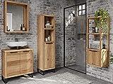 Woodkings® Badmöbel Set Sydney 4teilig, massiv Holz, Badezimmer Schränke schmal, für kleines Bad, Hochschrank Regal Waschbeckenunterschrank Spiegel, Metallfuß, auch hängend möglich (Wildeiche)