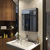 Meykoers Spiegelschrank 50x65cm Spiegelschrank Badezimmerspiegelschrank mit doppelseitigem Spiegel eintüriger Spiegelschrank Bad verstellbares Regal Mattschwarz Einfach zu montieren
