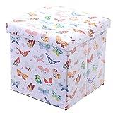 Faltbare Aufbewahrungs - Sitz - Box mit Deckel Schmetterlinge