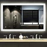 YIFAA LED Badspiegel 90x70cm Badezimmerspiegel mit Beleuchtung kaltweiß, LED Badezimmerspiegel, Badspiegel Lichtspiegel LED Spiegel Wandspiegel mit Touch-Schalter und Antibeschlag