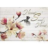 Vlies Fototapete PREMIUM PLUS Wand Foto Tapete Wand Bild Vliestapete - Blumen Blüten Holz Holzoptik Blaumeise Vogel - no. 3017, Größe:312x219cm Vlies