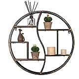 Schwebende Regale zur Wandmontage, rustikales Dekor, Holz, Wandregal, runde Metall-Wandhalterung, Organizer, Halter für Heimdekoration, schwarz