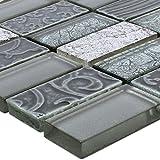 Glas Naturstein Mosaik Fliesen Piroshka Silber
