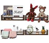 EasyPAG 4 Stück Holz vielseitige schwebende Regale Wand Gewürzregal Organizer Dekoration Halter Display Regal, braun