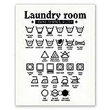 27,9 x 35,6 cm Waschküchen-Dekor – Wandkunst Symbole Poster – Wäschedekoration – Raumschild (weiß)