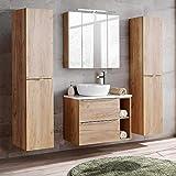 Lomadox Badezimmermöbel Set mit Aufsatz-Keramikbecken 50cm Wotaneiche & weiß Hochglanz, inkl. LED-Spiegelschrank 3D