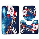 99native Weihnachten Badezimmer rutschfeste Badematte,Badteppich Badgarnitur Matte Badvorleger WC-Deckelbezug Toilettendeckel Set Bathroom Rug Mat Weich Duschmatte (B)