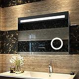 Duschdeluxe Badspiegel Lichtspiegel 80x60cm LED Spiegel Wandspiegel nergieeffizienzklasse A++ Beleuchtung kaltweiß Lichtspiegel mit Bluetooth+3-facher Vergrößerungsspiegel+Dimmbare Helligkeitsstufe