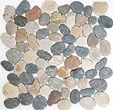 Mosaik Fliese Flußkiesel Steinkiesel schwarz Kiesel gewölbt beige grau schwarz MOS30-1204