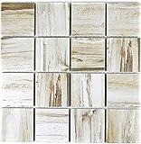 Mosaik Fliese Keramik beige Holzoptik hell für BODEN WAND BAD WC DUSCHE KÜCHE FLIESENSPIEGEL THEKENVERKLEIDUNG BADEWANNENVERKLEIDUNG Mosaikmatte Mosaikplatte