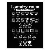PGbureau 27,9 x 35,6 cm Waschküchen-Dekor – Wandkunst Symbole Poster – Wäschedekoration – Raumschild (schwarz)