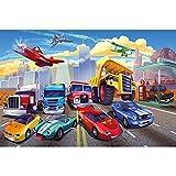 GREAT ART® Kinder Poster – Cars – Adventure Autos Autorennen Flugzeug Abenteuer Feuerwehr Sportwagen Cabrio Comic Style Wimmelposter Dekoration Wandbild Din A2 (42 x 59,4 cm)