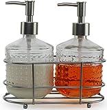 Circleware Vintage Seifenspender Flasche Pumpen in Metall Caddy 3-teiliges Set Home Badezimmer Zubehör Bauernhaus Dekor für ätherische Öle, Lotionen und Flüssigkeiten, 17 Unzen, Nickel Hobnail