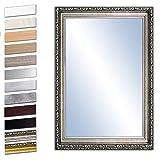 Bilderdepot24 Wandspiegel Spiegel Badspiegel Holzrahmen komplett mit Echtglas - Silber Antik - ca. 90x60 cm